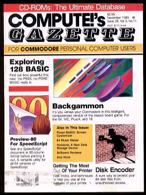 11/85 COMPUTE!'S GAZETTE Magazine (with disk) - COMMODORE 64/128/VIC-20