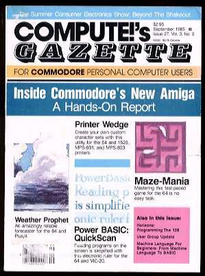 9/85 COMPUTE!'S GAZETTE Magazine (with disk) - COMMODORE 64/VIC-20