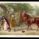 "1893 NEWSBOY PLUG TOBACCO Victorian Trade Card - ""TOO LATE"" - painting, horses"