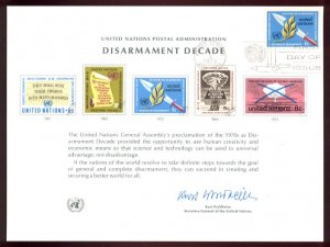 UNITED NATIONS POSTAL ADMINISTRATION Souvenir Card #3 - 1973 DISARMAMENT DECADE - First Day (N. Y.)