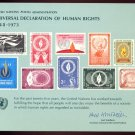 UNITED NATIONS POSTAL ADMINISTRATION Souvenir Card #4 - 1973 HUMAN RIGHTS - Mint