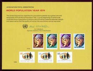 UNITED NATIONS POSTAL ADMINISTRATION Souvenir Card #6 - 1974 POPULATION YEAR - Mint