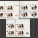 UNITED NATIONS (New York) - 1965 Population Trends (Sc. #151-3) - Inscription Blocks of 4 - MNH