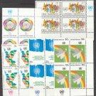 UNITED NATIONS (New York) - 1976 Complete Year Set (Sc. #267-80) - Inscription Blocks of 4 - MNH
