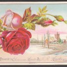 Large Victorian Reward of Merit Card by GIBSON - roses, church, river