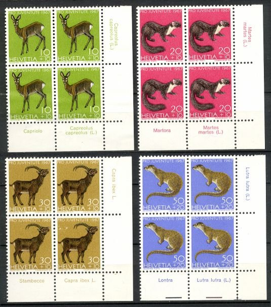 SWITZERLAND - 1967 Pro Juventute (Sc. #B370-3) Inscription Blocks of 4 - Unused (w/ disturbed gum)