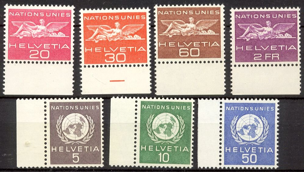 SWITZERLAND - 1955-59 United Nations European Office (Officials) - Group of 7 (Sc. #7O21//29) - MNH