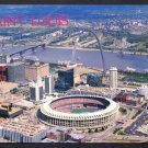 1980s ST. LOUIS, MISSOURI - Aerial View of Downtown - Busch Stadium, Arch - Unused Postcard