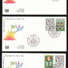 1980 UNITED NATIONS 35th Anniversary FDCs (3) - N.Y. (Sc. #322-3), Geneva (#93-4), Vienna (#12-3)
