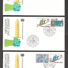 1980 UNITED NATIONS Economic Social Council FDCs (3) - NY (Sc. #341-2) Geneva (#96-7) Vienna (#15-6)