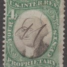 1871 - United States Revenue Stamp - 4¢ Proprietary (Sc. #RB4) - Used