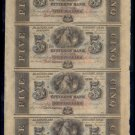 CITIZENS BANK OF LOUISIANA - Unissued 1850s $5 Banknote - Uncut Sheet of 4 - Obsolete Currency