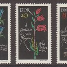 GERMANY (East) -1966 Protected Flowers - Set of 3 (Sc. #879-81) - MNH