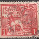GREAT BRITAIN Stamp - 1924 - 1p British Empire Exhibition (Sc. #185) - Used