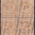 GREAT BRITAIN Postage Stamps - 1924 - 1sh King George V (Sc. #200) Block of 4 - Used