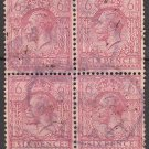 GREAT BRITAIN Postage Stamps - 1924 - 6p King George V (Sc. #195) Block of 4 - Used