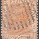 ITALY Postage Stamp - 1877 - 20c King Victor Emmanuel II (Sc. #36) - Used