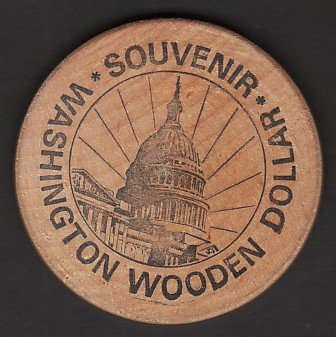 1974 - Ninth Annual M.W.N.A. Convention Souvenir Wooden Dollar - Washington, DC