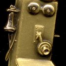 Vintage 10K Gold Charm in shape of Antique Wall-Mounted Hand-Cranked Telephone
