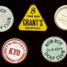 Assorted Vintage Advertising Golf Ball Markers (5) - Rob Roy GC, Grant's Scotch, etc