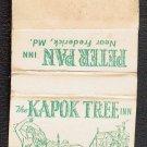 1970s (?)  KAPOK TREE INN / PETER PAN INN - Matchbook Cover - Florida / Maryland