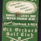 1950s/60s (?) OLD ORCHARD GOLF CLUB - Matchbook - Mount Prospect, Illinois