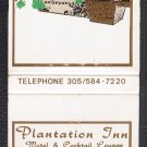 PLANTATION INN Motel & Cocktail Lounge - Matchbook Cover - Plantation, Florida