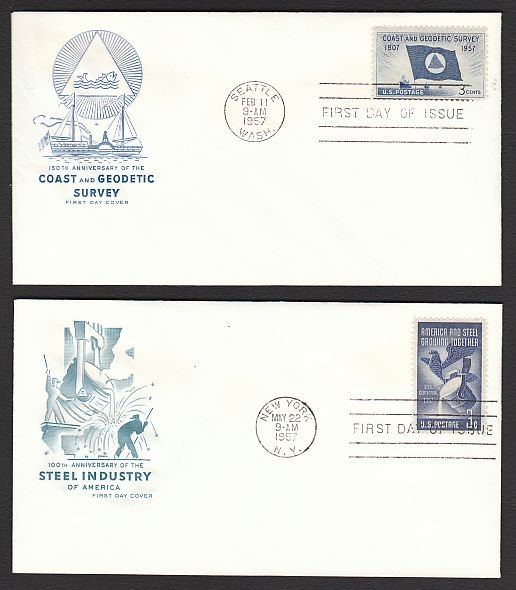 1957 - 8 Different HOUSE OF FARNAM Cacheted FDCs - All UA