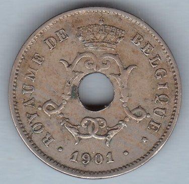 1901 BELGIUM - 10 Centimes coin - Circulated