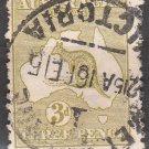AUSTRALIA Postage Stamp - 1913 - 3p Kangaroo & Map (Sc. #5) - Used