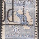 AUSTRALIA Postage Stamp - 1915 - 6p Kangaroo & Map (Sc. #48) - Used