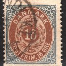 DENMARK Postage Stamp - 1875 - 16o Royal Emblems (Sc. #30) - Used