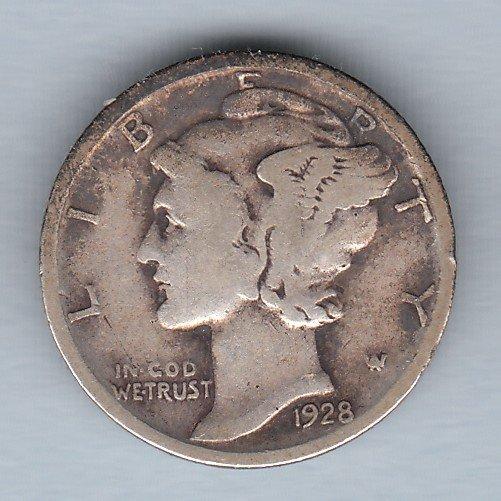 1928 Mercury Dime (U.S. Coin - 90% Silver) - Circulated