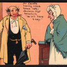 1907 Comic Postcard - MR. & MRS. CAUDLE by Tom Browne - Caudle will have a key