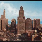1950s CHICAGO, ILLINOIS - Aerial View of WACKER DRIVE and Chicago River - Unused Postcard