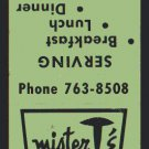MISTER T'S Restaurant - 1960s Matchbook Cover - Chicago (Edison Park), Illinois