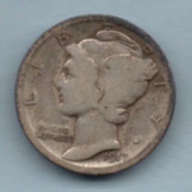 1917 Mercury Dime (U.S. Coin - 90% Silver) - Circulated