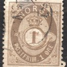 NORWAY Postage Stamp - 1877 - 1o Crown and Post Horn (Sc. #22) - Used