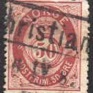 NORWAY Postage Stamp - 1877 - 50o Crown and Post Horn (Sc. #30) - Used