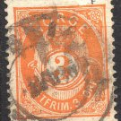 NORWAY Postage Stamp - 1883 - 3o Crown and Post Horn (Sc. #38a) - Used