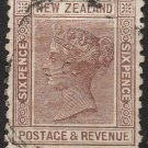 NEW ZEALAND Postage Stamp - 1882 - 6p Queen Victoria (Sc. #65) - Used