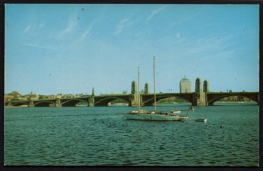 1950s BOSTON, Mass - West Boston Bridge Over The Charles River - Unused Postcard