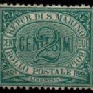 SAN MARINO Postage Stamp - 1877 - 2c Numeral (Sc. #1) - Unused (no gum)