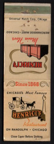 HENRICI'S Restaurant - Chicago, Illinois - 1960s Matchbook Cover