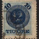 SWEDEN Postage Stamp - 1889 - 10o Surcharge on 12o Numeral (Sc. #50) - Used