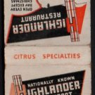 HIGHLANDER Restaurant - Lake Wales, Florida - Vintage 1960s(?) Matchbook Cover