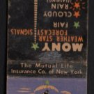 MUTUAL OF NEW YORK - MONY Weather Star Signals - Vintage Matchbook Cover