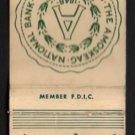 AMOSKEAG NATIONAL BANK - Manchester, New Hampshire - Vintage Matchbook Cover