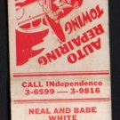 NEAL and BABE WHITE Service Station - Chicago, Illinois - 1950s Matchbook Cover