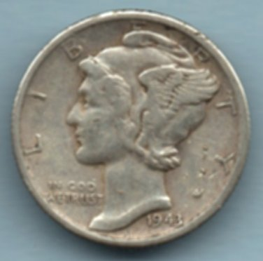 1943-S Mercury Dime (U.S. Coin - 90% Silver) - Circulated
